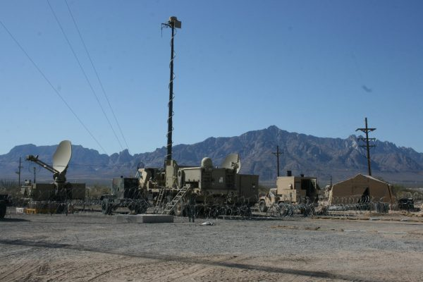The Warfighter Information Network-Tactical equipment is set up during the Network Integration Evaluation 12.1 exercise at White Sands Missile Range, N.M.